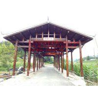 专业定做广西廊桥少数名族双排柱廊桥防腐木实木廊架