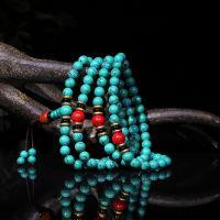 热销 纯手工绿松石佛珠批发 时尚民族风藏式三通绿松石佛珠手链