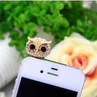 镶钻珍珠卡通猫头鹰手机防尘塞 Ebay淘宝速卖通货源 ALQP20140107