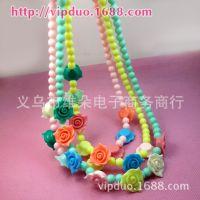甜美玫瑰花朵儿童项链 糖果色饰品 韩版