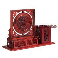 红木工艺品木雕老挝红酸枝屏风木质办公用品摆件