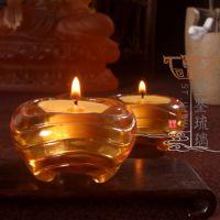 深圳琉璃工厂直批 古法脱蜡铸造精品佛具供养烛台酥油灯 轮回