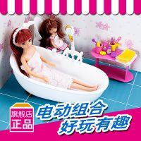 乐吉儿正品迷你可喷水浴室洋芭比娃娃套装礼盒正品2014女孩玩