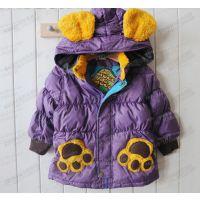 秋冬新款 专在售日本原单女童蓝色熊猫爪子羽绒服 童装批发