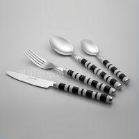 厂家直销刀叉勺塑料柄餐具套装 不锈钢餐具24件套