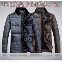 批发爆款格子立领高绒男式羽绒服 商务精品品牌冬装新款加厚外套