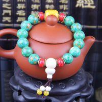 尼泊尔佛珠藏式手串时尚饰品绿松石手链批发蜜腊椰壳佛珠