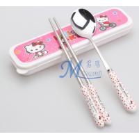 厂家直销卡通儿童餐具 便携陶瓷柄勺子筷子 名瑞MR-0721
