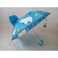 YL【雅乐制伞】专业生产儿童卡通耳朵伞 反光条包边安全吸顶半纤维直杆儿童伞