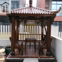 古秀中式园林景观设计六角凉亭,仿古木四角亭