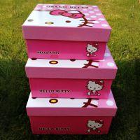 hello kitty3件套方形礼品盒高档甜美包装盒大号单盒收纳盒点心盒