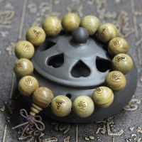 天然绿檀佛珠手链男士 绿檀木手串 念珠手珠 雕刻佛