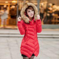 【春园制衣】2013年韩式收腰超大毛领女士中长款羽绒服
