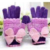 供应批发 红豆正品 兔羊毛分指保暖手套 加厚大蝴蝶结女士手套A2021