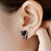 韩国热卖 RO原宿立体珍珠动物小豹子猫咪穿刺耳钉男女款