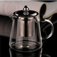 优质耐热玻璃茶具、手工吹制、花茶钢漏壶、欢迎订做、玻璃茶壶、