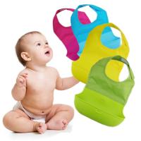 贴牌加工硅胶口水兜 宝宝围嘴硅胶围兜 防水食饭兜