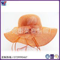 2015时尚裸色大檐帽 工厂定制批发礼帽 草编蕾丝花朵沙滩帽