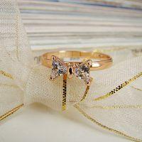 高品质2014春夏新款 淑女简约风格玫瑰金色锆石蝴蝶结戒指