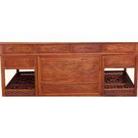 160檀雕书桌椅-红木书房家具-缅甸花梨-书桌椅价格-军兰红木