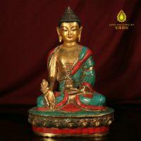纯铜药师佛 佛像 尼泊尔手工做旧 镶嵌保真绿松石红宝石 现货特价