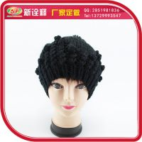 黑色中老年人保暖毛线帽 卷边加厚鸭舌针织帽 冬天女士帽定制