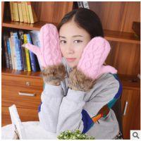 韩国冬季纯手工编织加厚保暖毛毛时尚挂脖毛线手套批发
