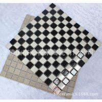 游泳池陶瓷马赛克 25*25MM黑白棋盘间隔铺贴马赛克 游泳池瓷砖