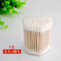 厂家直销竹炭棉签一次性双头木棒卫生消毒心形包装棉签棉棒批发