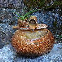 陶瓷喷泉流水加湿器工艺品装饰摆件 家居客厅办公室 桌面水景摆设