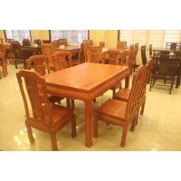 贵州红木家具专卖店 缅甸花梨木 国色天香餐桌 古典中式港龙红木家具价格