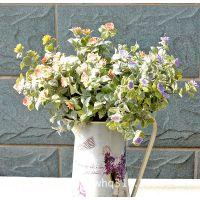 新品促销 家居装饰仿真植物仿真花 复古喷粉6叉带花葵叶SL-01604