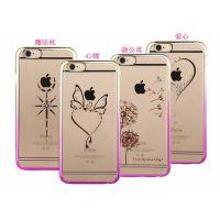 iphone6镶钻手机壳 iphone5S渐变电镀贴钻手机套 苹果6plus手机壳