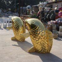 金色鲤鱼玻璃钢动物雕塑 酒店别墅景观美陈水景雕塑