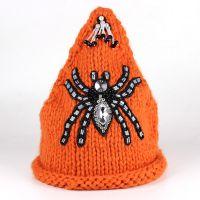 尖角套头针织毛线帽手工帽可定做 糖果色蜘蛛朋克风[HUL2g]