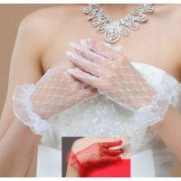 春夏新款新娘结婚礼短款雷丝露指花边手套白色透明女款婚纱手套