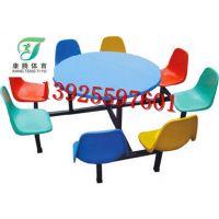 东莞清溪哪里的桌子便宜?饭堂用的什么连体桌子易打扫卫生 康腾玻璃钢餐桌椅