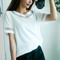 夏季新款韩版欧根纱拼接大码女装上衣 胖妹妹短袖雪纺衫t恤打底衫