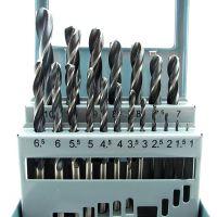 19PC高速钢套装麻花钻头 角铁不锈钢薄板 开孔钻 19支铁盒直柄钻