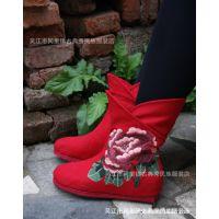 古韵古典秀民族风春秋女士千层底绣花鞋 舒适中筒平底  靴子