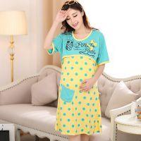 夏季外出孕妇哺乳睡裙 睡衣时尚孕妇装 棉质产前产后喂奶月子服