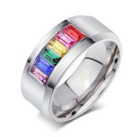 欧美外贸时尚经典戒指批发 彩虹精钢戒指 钛钢饰品速卖通亚马逊