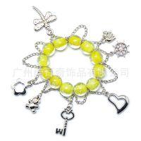 新款DIY个性时尚香巴拉手链黄色琉璃合金十字心形挂件手链批发