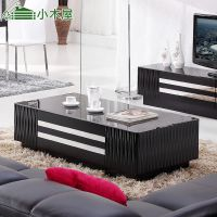 XIAOMUWU现代简约黑色钢化玻璃茶几亮光烤漆茶几电视柜组合新款