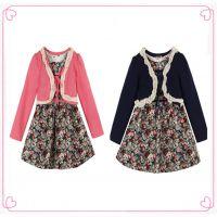 2015年 春秋款 女童长袖蕾丝边披肩+小碎花连衣裙 2件套