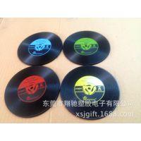 新品黑膠唱片杯垫 PVC软胶杯垫 新设计彩印杯垫 时尚家居生活用品