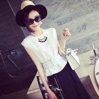 小银子2015夏装新款欧美造型竖条纹显瘦腰带无袖上衣B