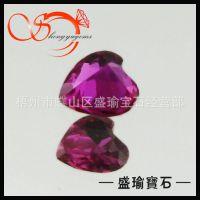 红刚玉裸石 心形红刚玉  3X3mm 5#人造红宝石 梧州宝石