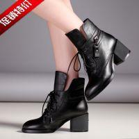 2015秋冬时尚新款粗跟短靴 前系带低筒休闲全牛皮女靴靴子