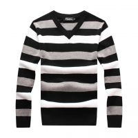 供应2015男士秋季大码V领毛衣韩版条纹修身套头针织衫打底衫